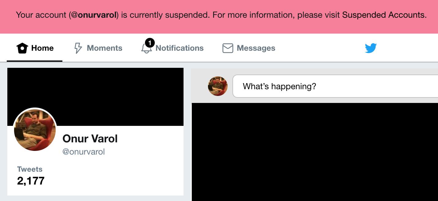 my twitter account has been suspended